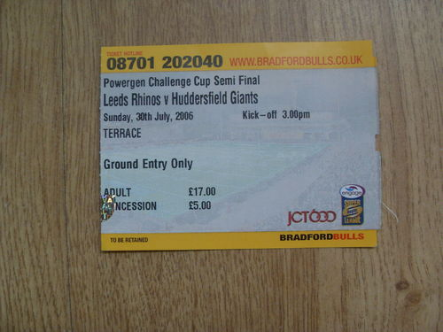 Leeds v Huddersfield 2006 Challenge Cup Semi-Final Rugby League Ticket
