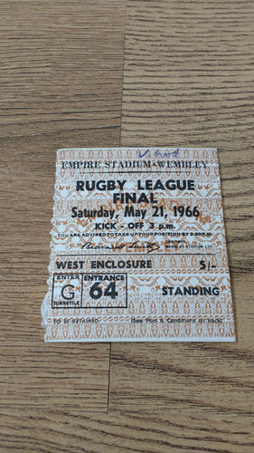 St Helens v Wigan 1966 Challenge Cup Final Rugby League Ticket