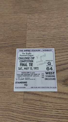St Helens v Leeds 1972 Challenge Cup Final Rugby League Ticket
