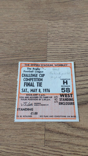 St Helens v Widnes 1976 Challenge Cup Final Rugby League Ticket