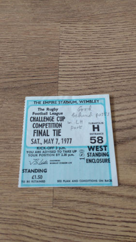Leeds v Widnes 1977 Challenge Cup Final Rugby League Ticket
