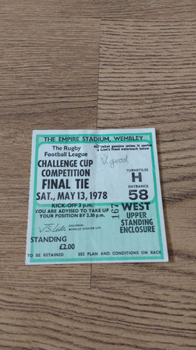 Leeds v St Helens 1978 Challenge Cup Final Rugby League Ticket