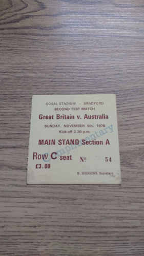 Great Britain v Australia 1978 2nd Test Rugby League Ticket