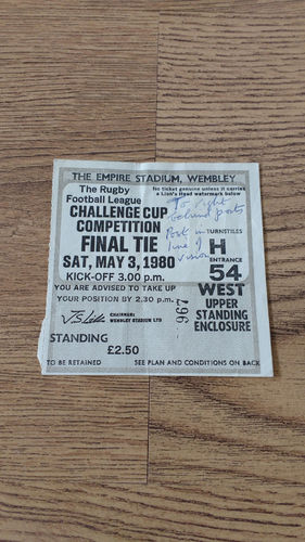 Hull KR v Hull 1980 Challenge Cup Final Rugby League Ticket