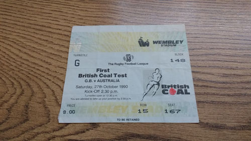 Great Britain v Australia 1st Test 1990 Rugby League Ticket