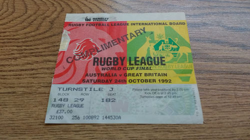 Australia v Great Britain 1992 Rugby League World Cup Final Ticket