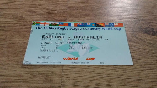 England v Australia 1995 Rugby League World Cup Group A Ticket