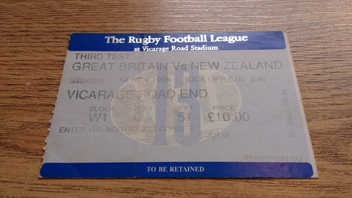 Great Britain v New Zealand 3rd Test 1998 Rugby League Ticket