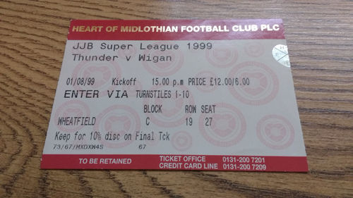 Gateshead Thunder v Wigan Aug 1999 Rugby League Ticket
