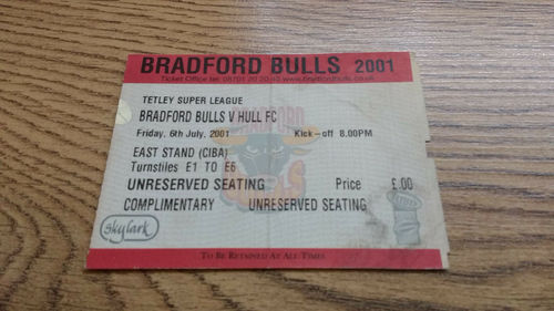 Bradford Bulls v Hull July 2001 Rugby League Ticket