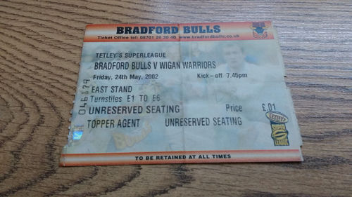 Bradford Bulls v Wigan Warriors May 2002 Rugby League Ticket