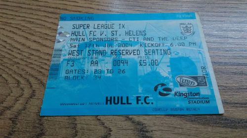 Hull v St Helens July 2004 Used Rugby League Ticket