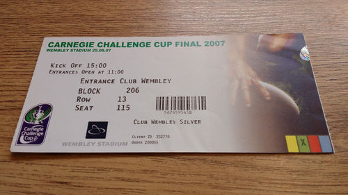 St Helens v Catalans Dragons 2007 Challenge Cup Final Rugby League Ticket