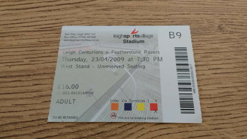 Leigh Centurians v Featherstone Rovers Apr 2009 Rugby League Ticket