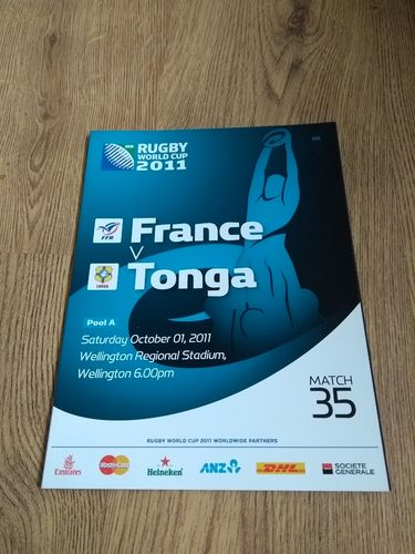 France v Tonga 2011 Rugby World Cup Programme
