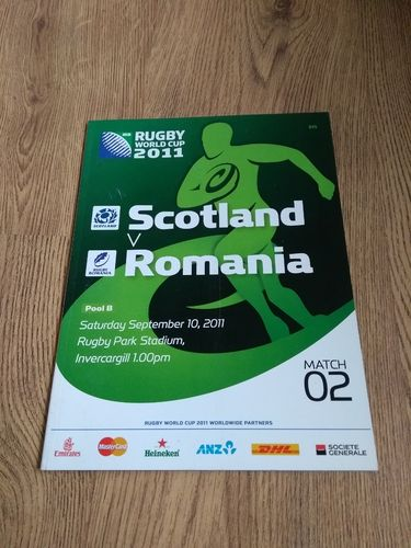 Scotland v Romania 2011 Rugby World Cup Programme