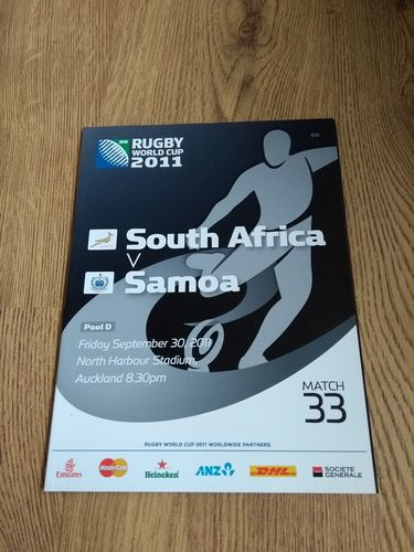 South Africa v Samoa 2011 Rugby World Cup Programme