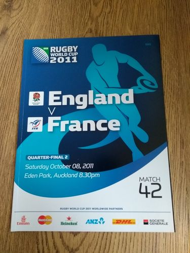 England v France 2011 Quarter-Final Rugby World Cup Programme