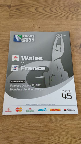 Wales v France 2011 Rugby World Cup Semi-Final Programme