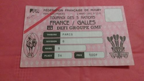 France v Wales 1991 Rugby Ticket
