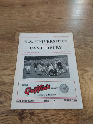 Canterbury v New Zealand Universities June 1960 Rugby Programme