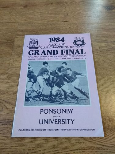 Ponsonby v University Aug 1984 Auckland Club Grand Final Rugby Programme