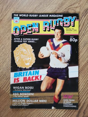 'Open Rugby' No 80 : December 1985 Rugby League Magazine