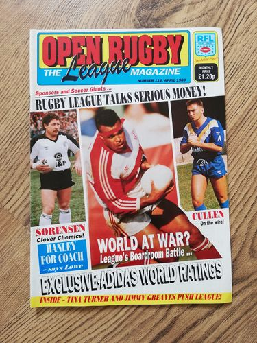 'Open Rugby' No 114 : April 1989 Rugby League Magazine