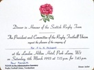 Rugby Dinner Invitation & Itinerary Cards