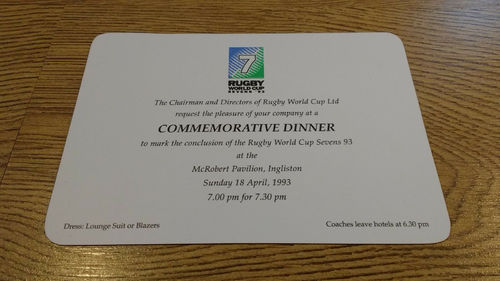 Rugby World Cup Sevens 1993 Dinner Invitation Card