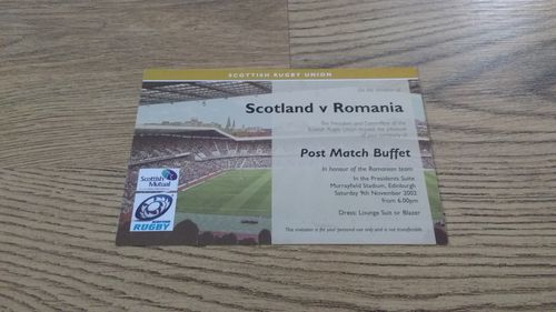 Scotland v Romania 2002 Rugby Post Match Buffet Invitation Card