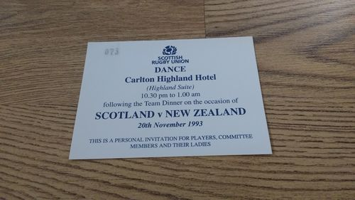 Scotland v New Zealand 1993 Rugby Dance Invitation Card
