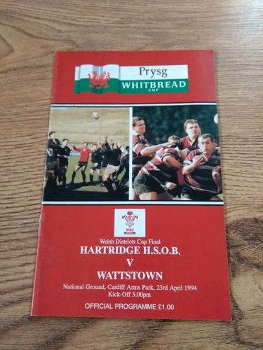 Hartridge HSOB v Wattstown 1994 Welsh Districts Cup Final Rugby Programme