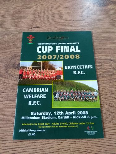 Bryncethin v Cambrian Welfare 2008 Welsh Districts Cup Final Rugby Programme