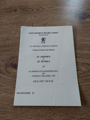 St Joseph's v St Peter's 1997 East District Cup Final Rugby Programme