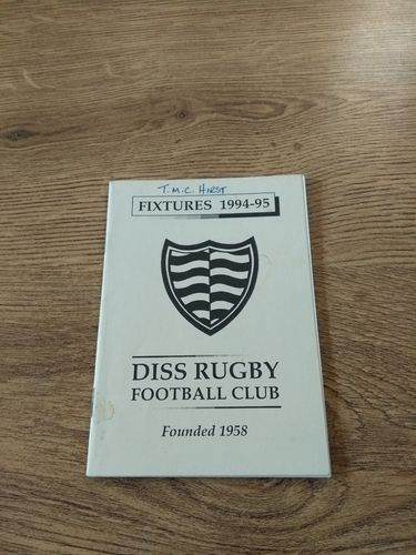 Diss Rugby Club 1994-95 Membership Card & Fixture List