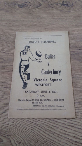 Buller v Canterbury June 1961 Rugby Programme