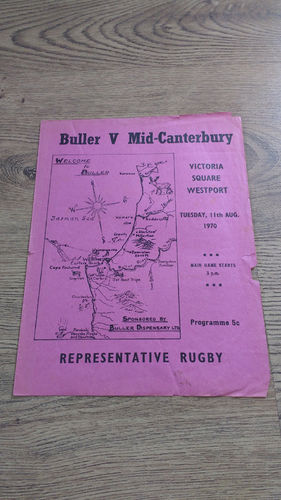 Buller v Mid-Canterbury Aug 1970 Rugby Programme