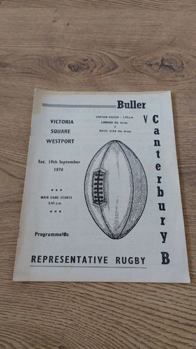 Buller v Canterbury B Sept 1970 Rugby Programme