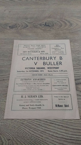 Buller v Canterbury B Sept 1973 Rugby Programme
