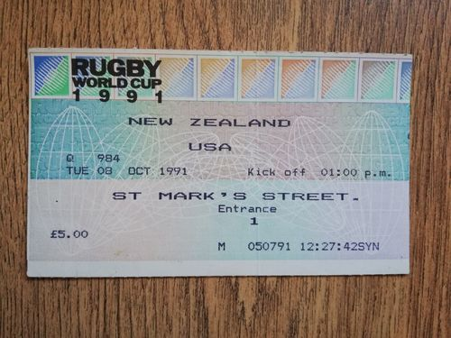 New Zealand v USA 1991 Used Rugby World Cup Ticket