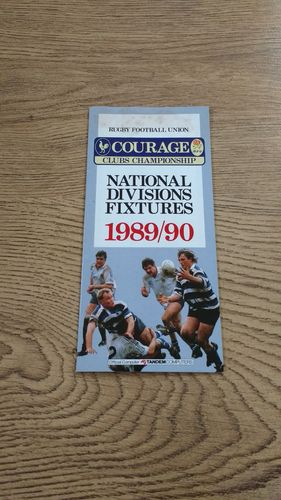 Courage English Clubs Championship 1989/90 Fixture Card