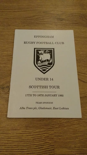 Effingham Under 14 Tour to Scotland 1992 Brochure