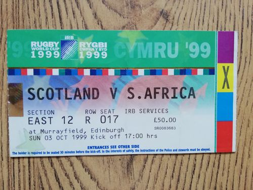Scotland v South Africa 1999 Rugby World Cup Used Ticket