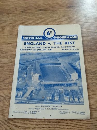 England v The Rest Jan 1962 Signed Rugby Trial Programme