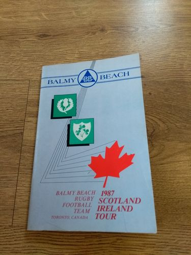 Balmy Beach Rugby Club (Toronto) 1987 Tour to Scotland & Ireland Brochure