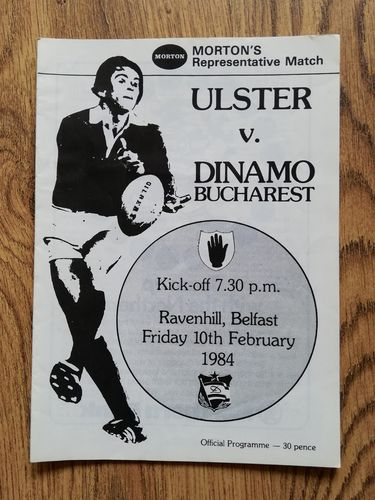 Ulster v Dinamo Bucharest Feb 1984 Rugby Programme