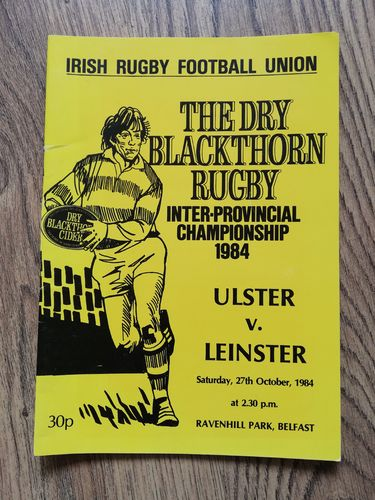 Ulster v Leinster Oct 1984 Rugby Programme