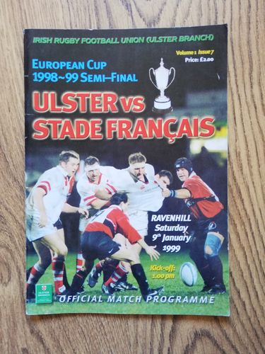 Ulster v Stade Francais Jan 1999 European Cup Semi-Final Rugby Programme