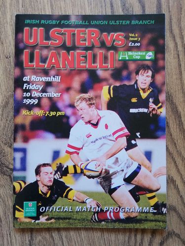 Ulster v Llanelli Dec 1999 European Cup Rugby Programme